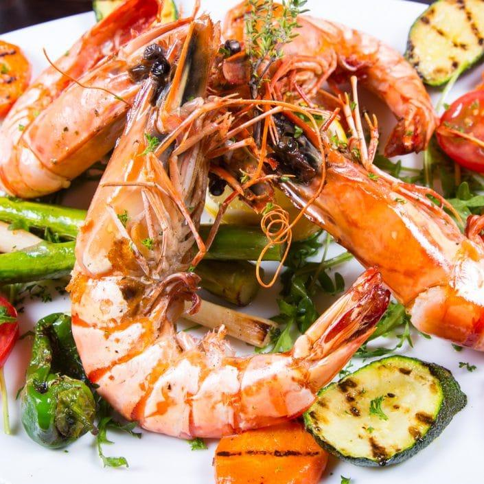 Restaurant Troja München - Fisch - Riesengarnelen vom Grill